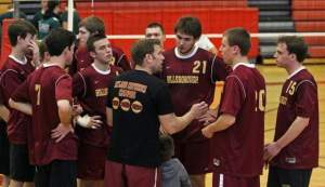 The Hillsborough boys volleyball team gathers during a recent scrimmage. Photo by: Kathy Johnson