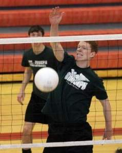 Sean Finan of St. Joseph's boys volleyball team. Photo by: Kathy Johnson