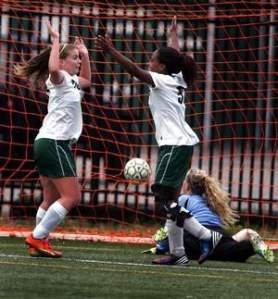 South Plainfield's Michaella Butrico, left and Brianna Boyce celebrate a goal in 2-1 victory over Sayreville on Wednsday. Photo by: Ed Pagliarini