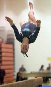 East Brunswick's Kylie Feldman competes on the balance beam at the NJSIAA Central sectionals on Saturday. Photo by: Kathy Johnson
