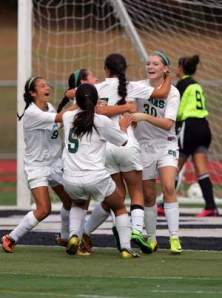 East Brunswick celebrates its first goal against Old Bridge on Saturday. Photo by: Ed Pagliarini