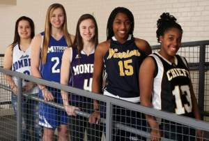 The 2013-14 Home News Tribune All-Area Girls Basketball team: (from left) Jacqueline Rodriguez (Sayreville), Cassie Smith (Metuchen), Erica Junquet (Monroe), Adreana Miller (Franklin), Kiki Bynes (Piscataway). Photo by: Mark R. Sullivan
