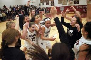 South River girls basketball players celebrate their NJSIAA Central Group I win over Bound Brook on Friday. Photo by: Ed Pagliarini