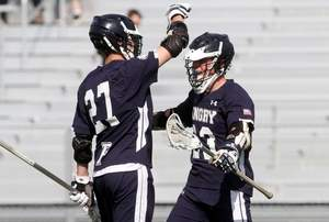 Pingry's Clayton Wright, right, celebrates with teammate JC Sorenson after scoring during the second quarter against Bridgewater-Raritan on Wednesday. Photo by: Jason Towlen