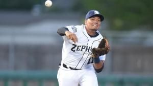 Highlight reel plays have become commonplace for Zephyrs shortstop Miguel Rojas. Photo by: Parker Waters / New Orleans Zephyrs