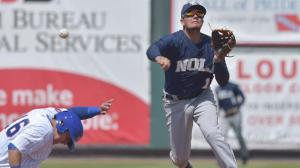 Zephyrs shortstop Miguel Rojas makes a turn in a recent series against Omaha. Photo by: Dennis Hubbard